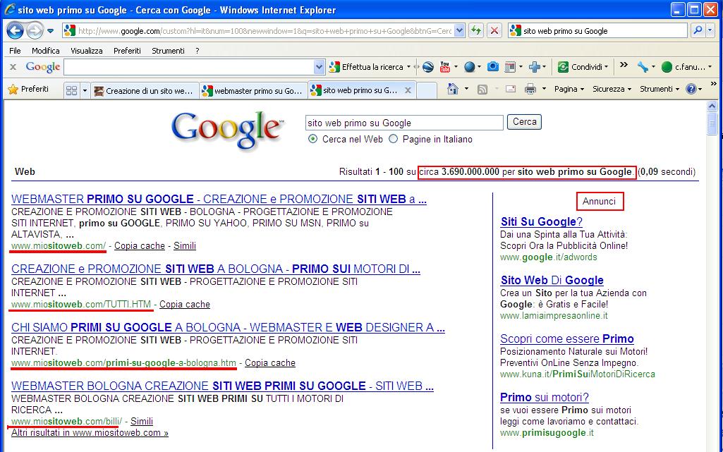 Diventare primo su google e yahoo creazione siti for Siti web di costruzione domestica